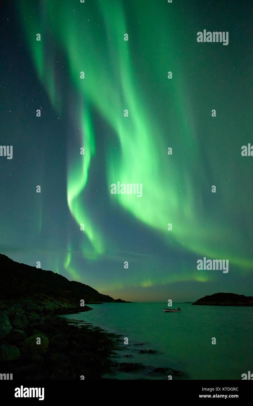 Aurora Borealis, Northern Lights, over Laukvik, Lenvik, Senja, Troms, Norway - Stock Image