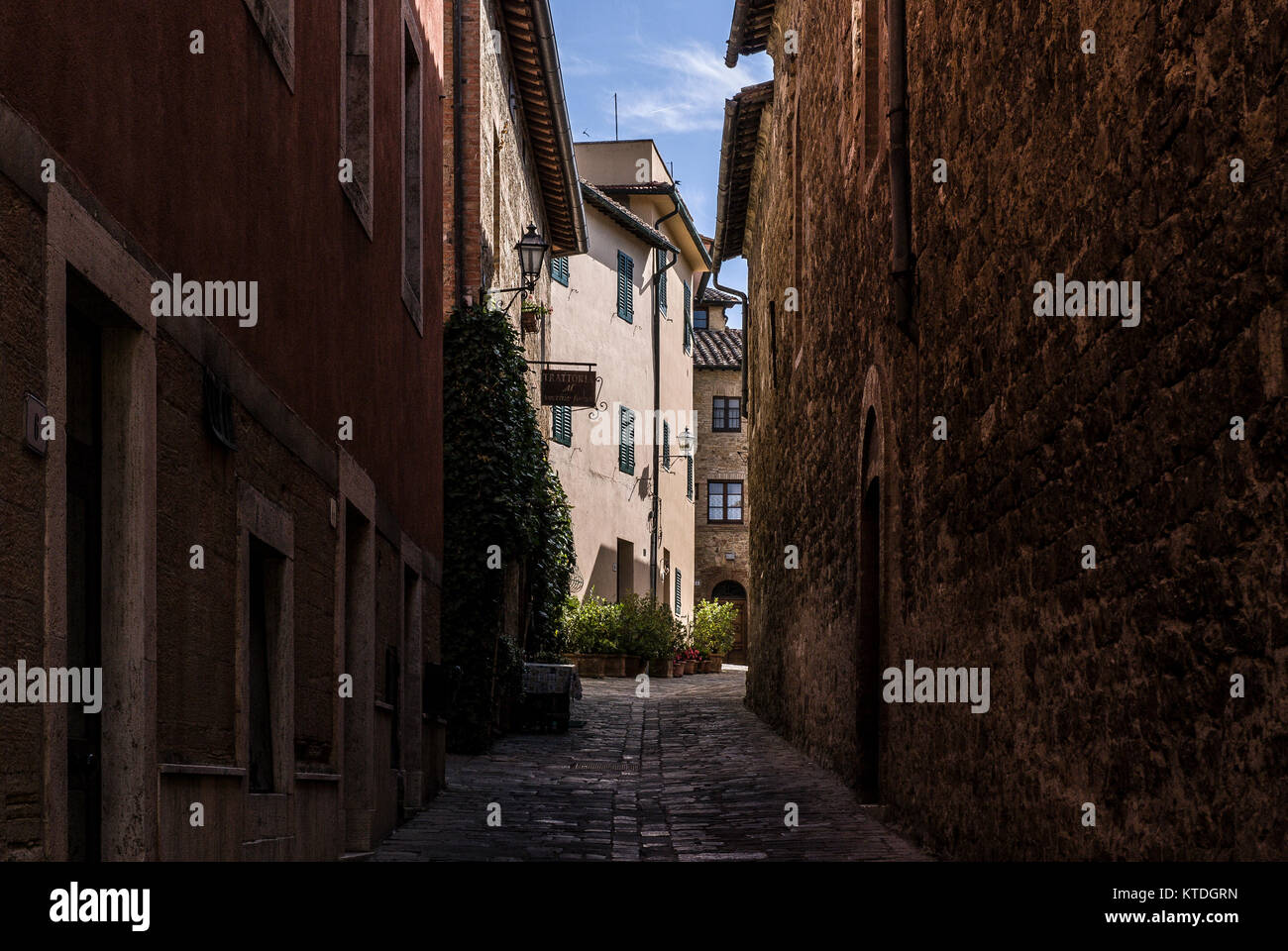 ORCIA VALLEY-JUNE 2:typical street in the small village of San Quirico d'Orcia,Tuscany,Italy,on June,2,2017. Stock Photo