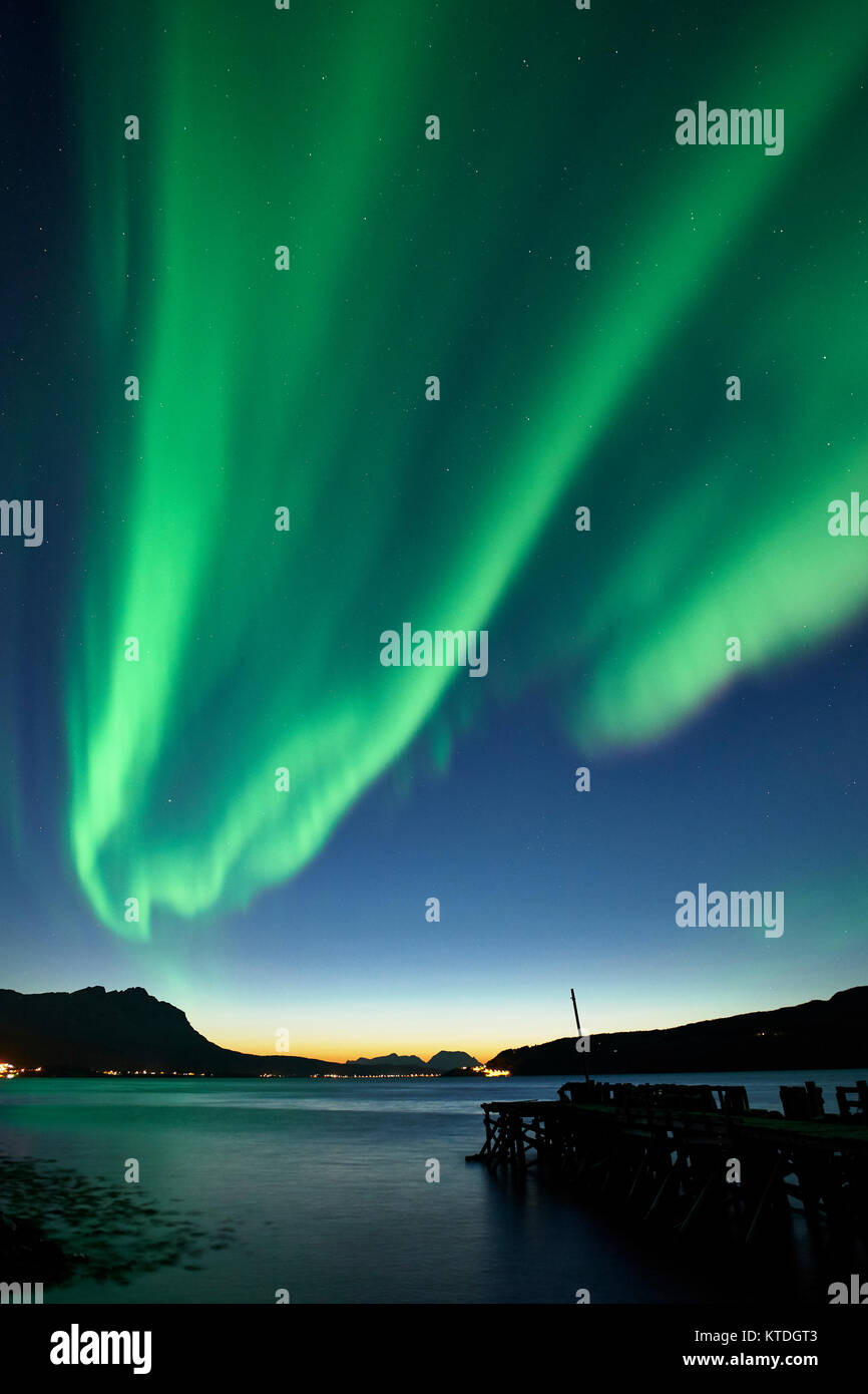 Aurora Borealis, Northern Lights over Astafjorden, Ratangen, Troms, Norway - Stock Image