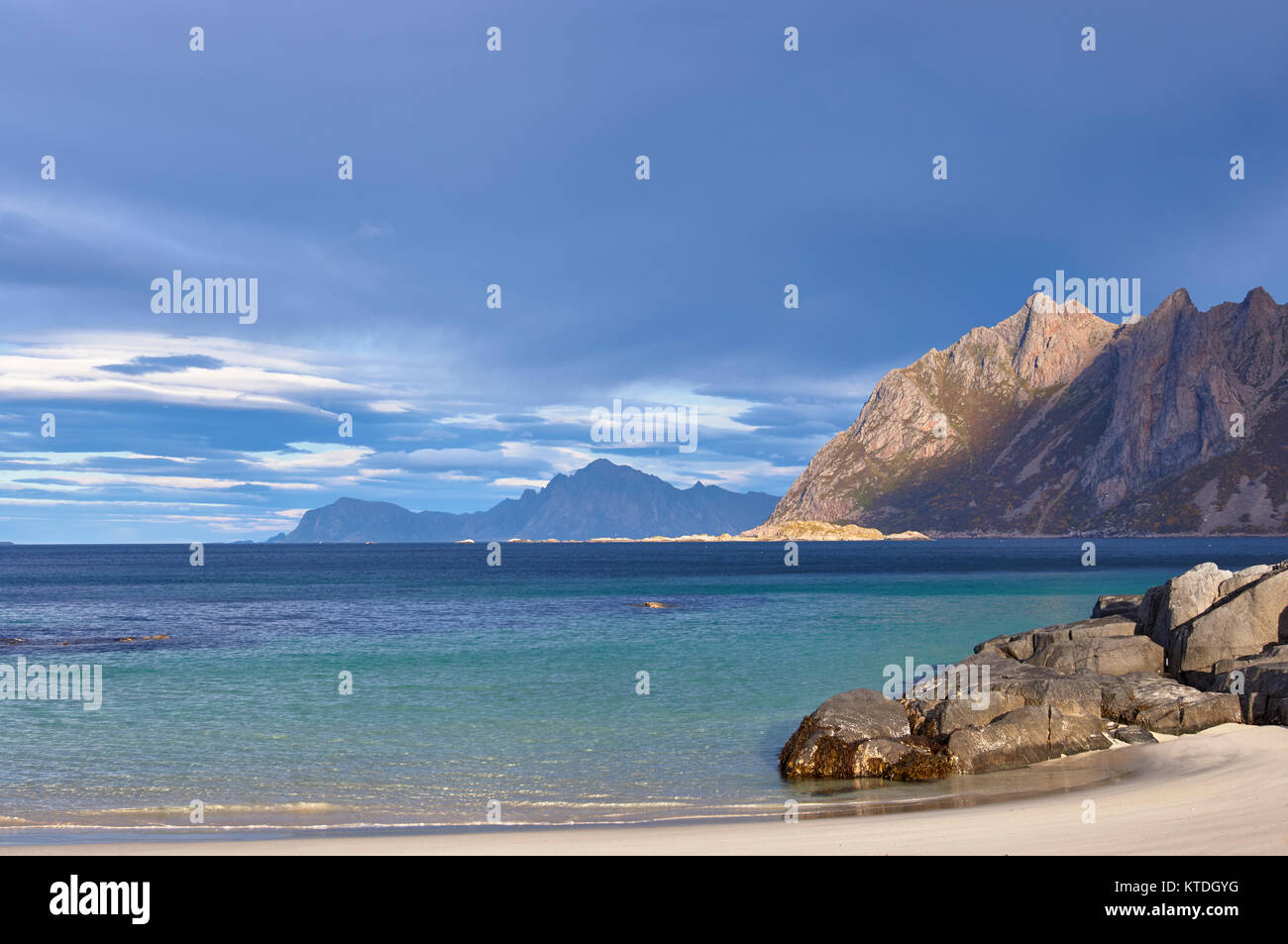 Beach scene at Hovden, Bo, Langoya, Nordland, Norway - Stock Image