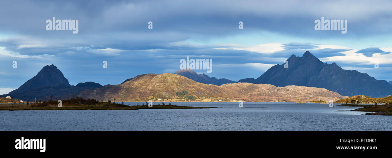 Panorama from Rygge on Langoya, Bo, Nordland, Norway - Stock Image