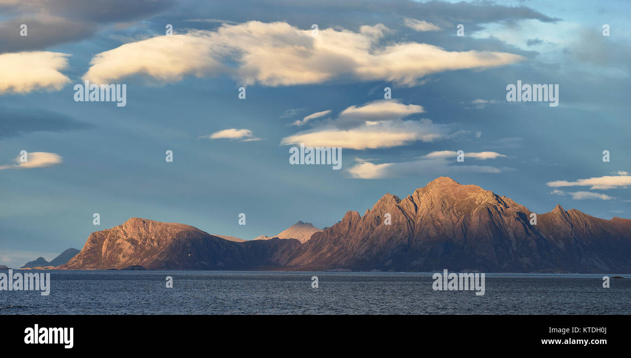 Panoramic view of Skogsoya from Hovden, Langoya, Bo, Nordland, Norway - Stock Image
