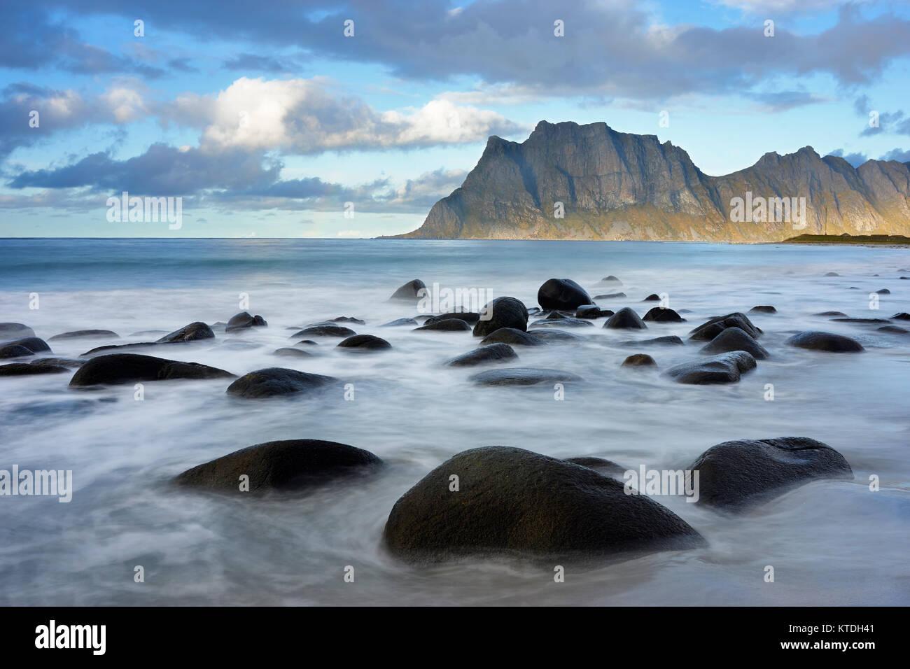 Utakleiv beach, Vestvagoy, Lofoten, Nordland, Norway - Stock Image