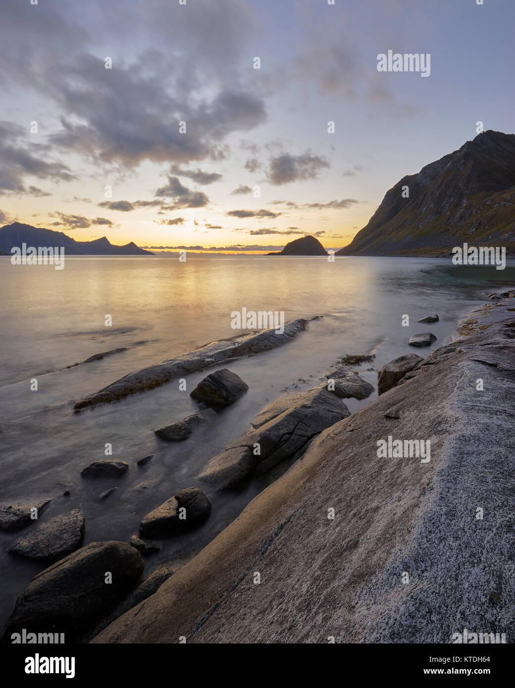 Haukland beach, Vestvagoy, Lofoten, Nordland, Norway at sunset - Stock Image