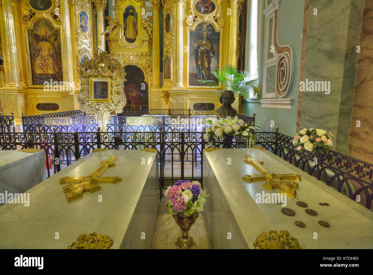 Tombs of Peter I (R) and Catherine ! (L), SS Peter and Paul Cathedral, St Petersburg, UNESCO World Heritage Site, - Stock Image