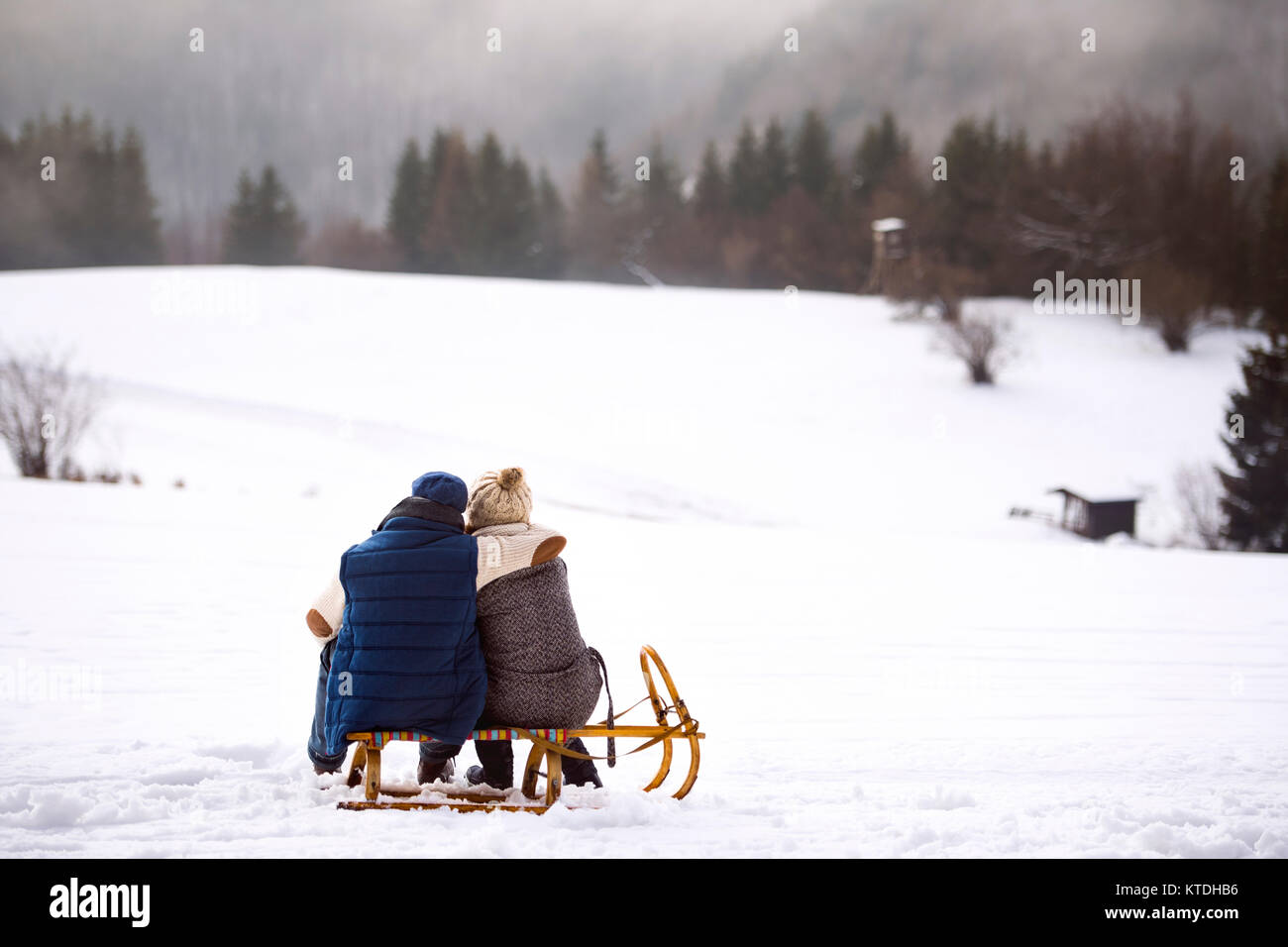 Back view of senior couple sitting side by side on sledge in snow-covered landscape - Stock Image