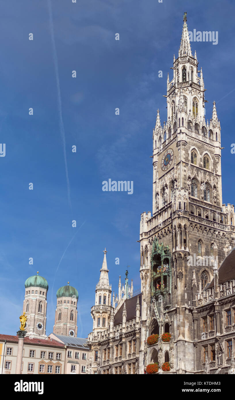 Germany, Bavaria, Munich, Marian column and Frauenkirche and new town hall - Stock Image