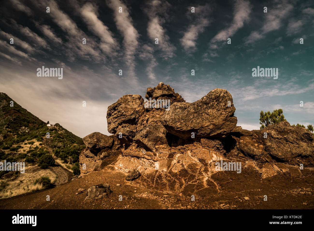 Hiking on top of the Rico Ruivo in Madeira Portugal - Stock Image