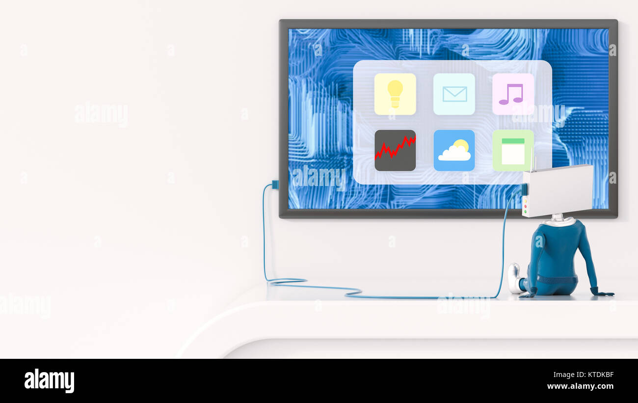 3D Illustration, Figurine looking on apps - Stock Image
