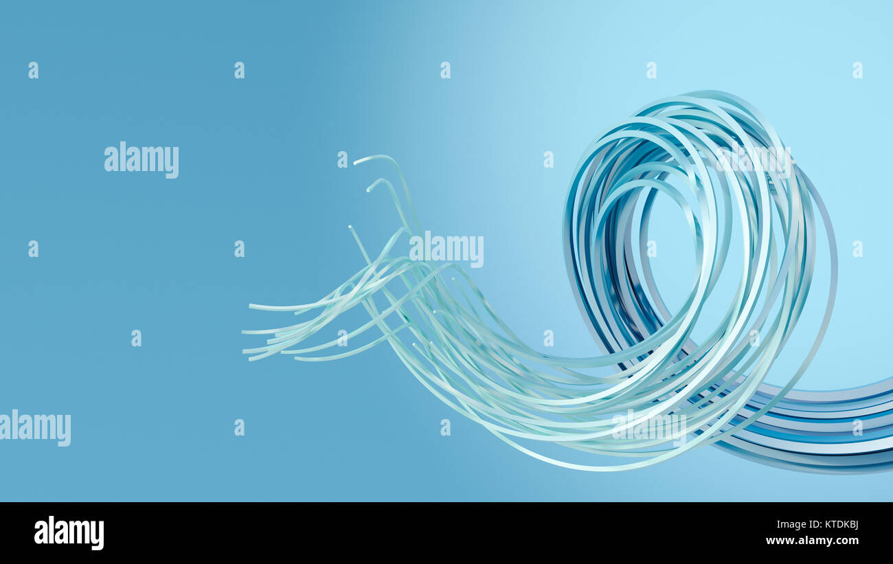 3D Rendering, swirl on blue background - Stock Image