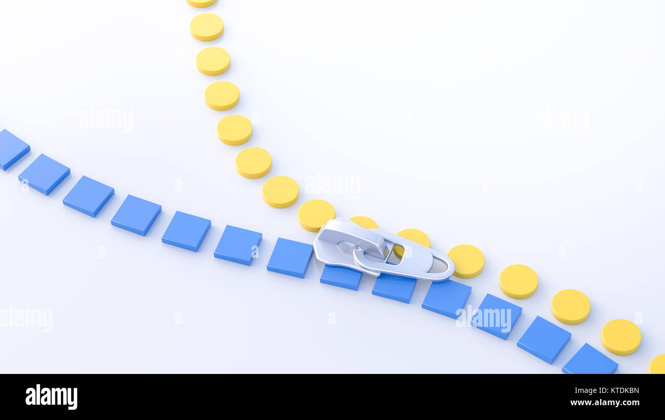 3D Illustration, zipper, yellow circles and blue squares - Stock Image