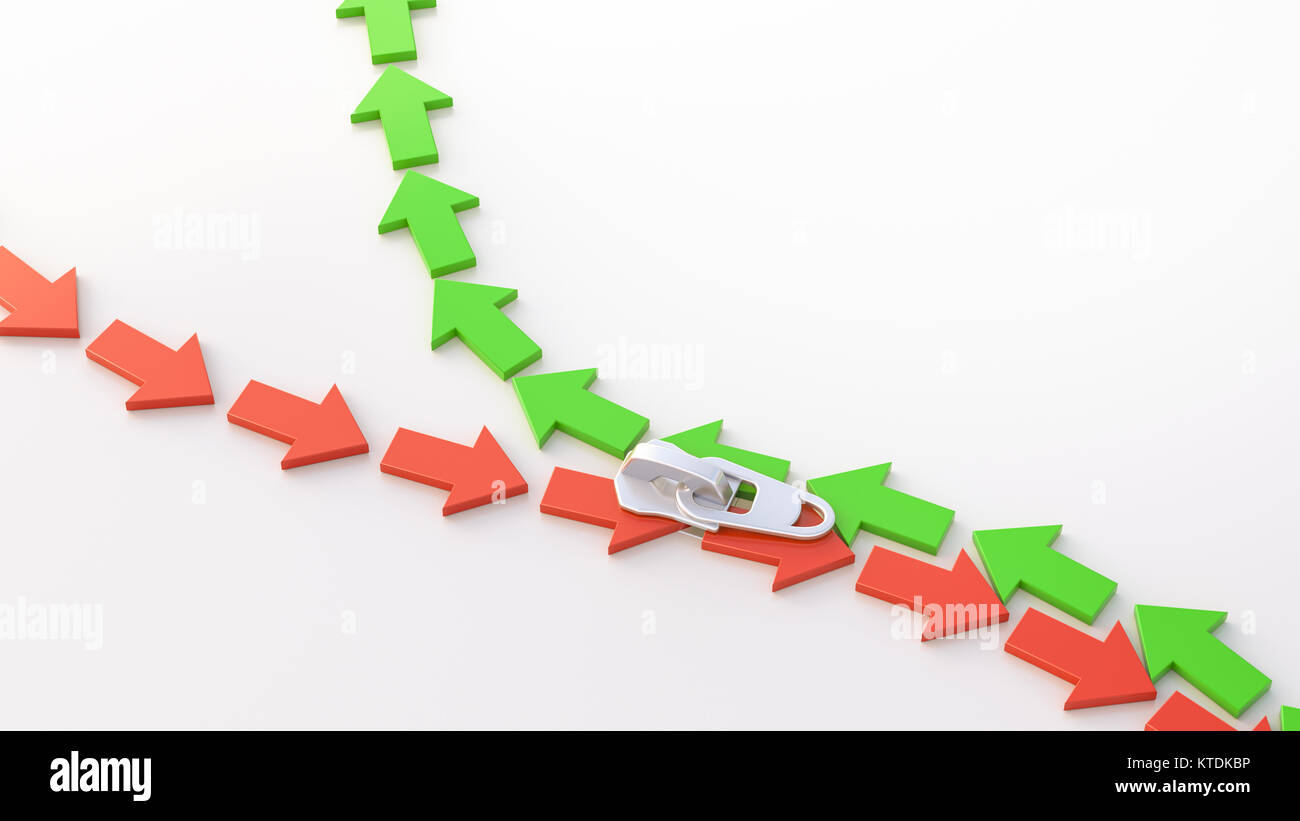 3D Illustration, zipper, arrows, up and down - Stock Image