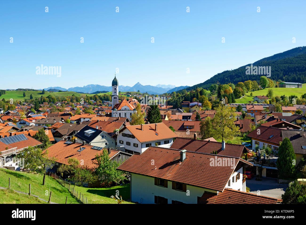 Ortsansicht Nesselwang, OstallgŠu, AllgŠu, Schwaben, Bayern, Deutschland, Stock Photo