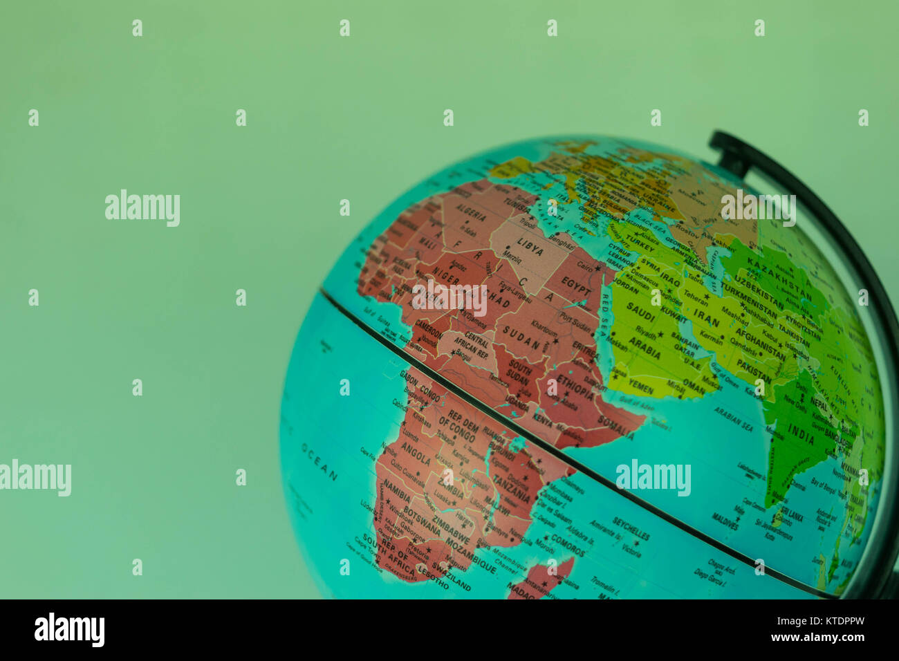 Africa, Middle East and India map on a globe witha white background ...