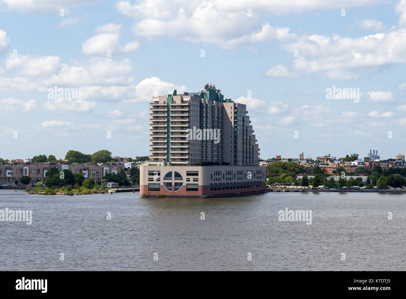 The Residences at Dockside Condominiums viewed from the deck of the USS New Jersey, Delaware River, Philadelphia, - Stock Image