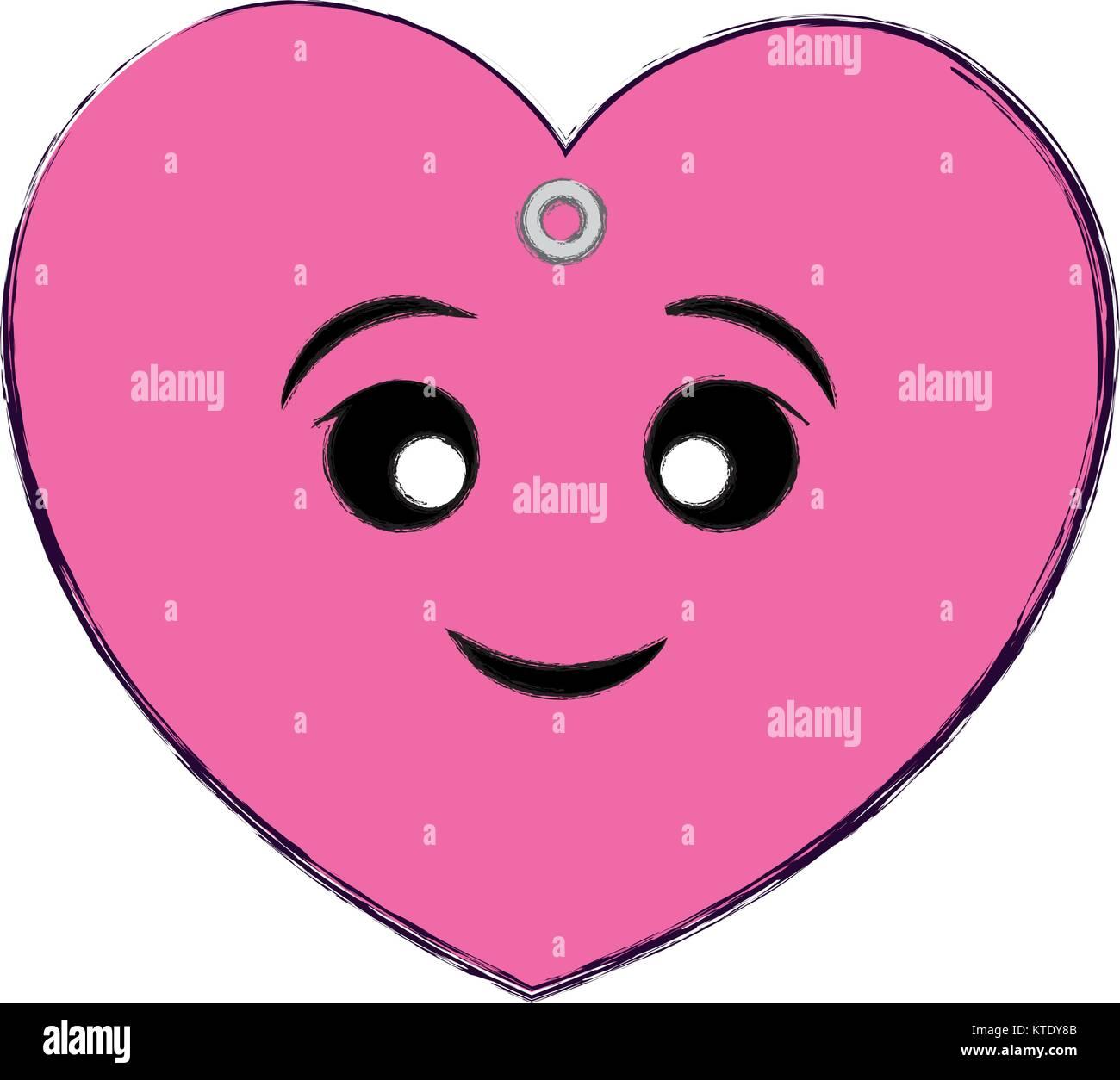 kawaii pink heart icon - Stock Vector
