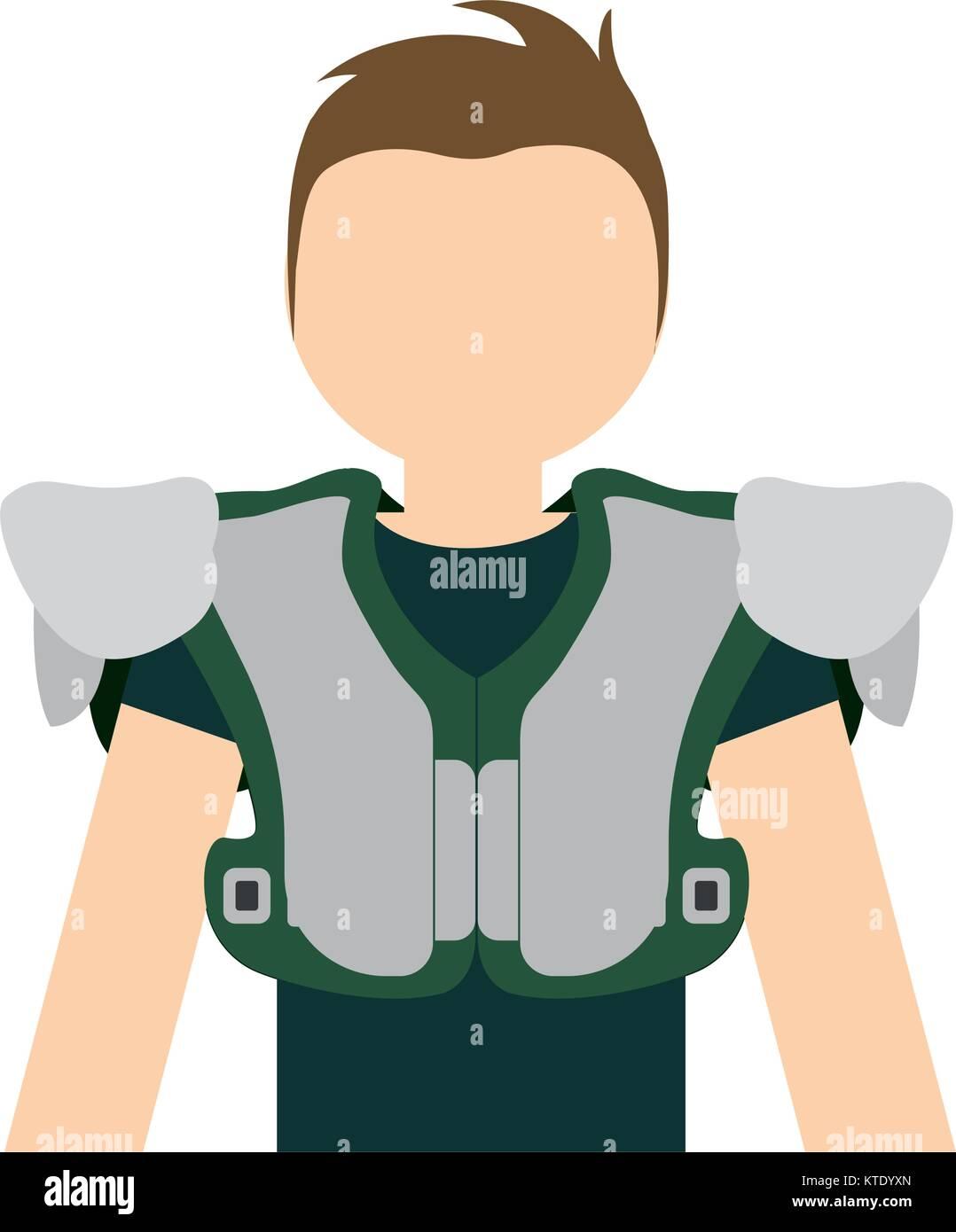 american football player man  vector illustration - Stock Vector