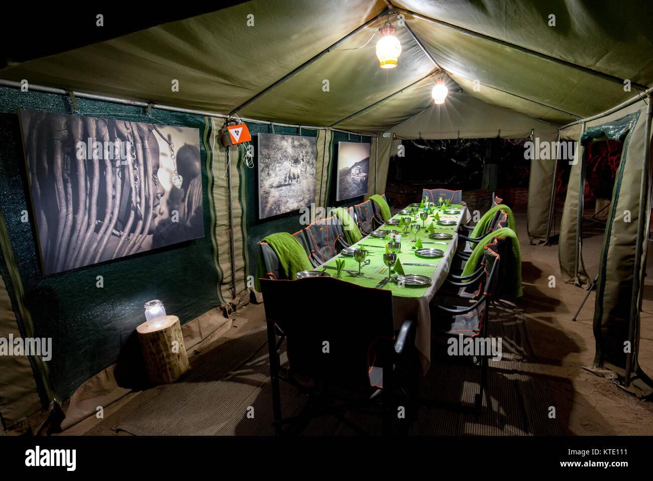Dining area - Huab Under Canvas, Damaraland, Namibia, Africa - Stock Image