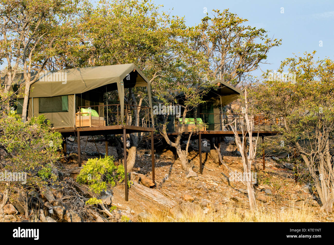 Tent Exteriors at Huab Under Canvas, Damaraland, Namibia, Africa - Stock Image