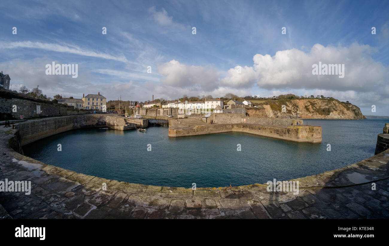 Wide angle view of Charlestown harbour, Cornwall. The former port is a UNESCO world heritage site and now a filming - Stock Image