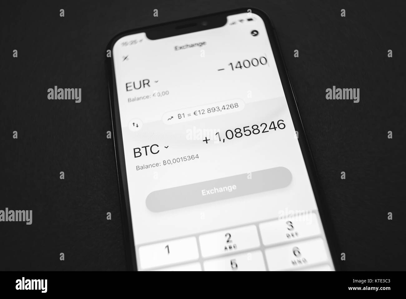 KAUNAS, LITHUANIA - DECEMBER 23, 2017: Exchange rate of Bitcoin