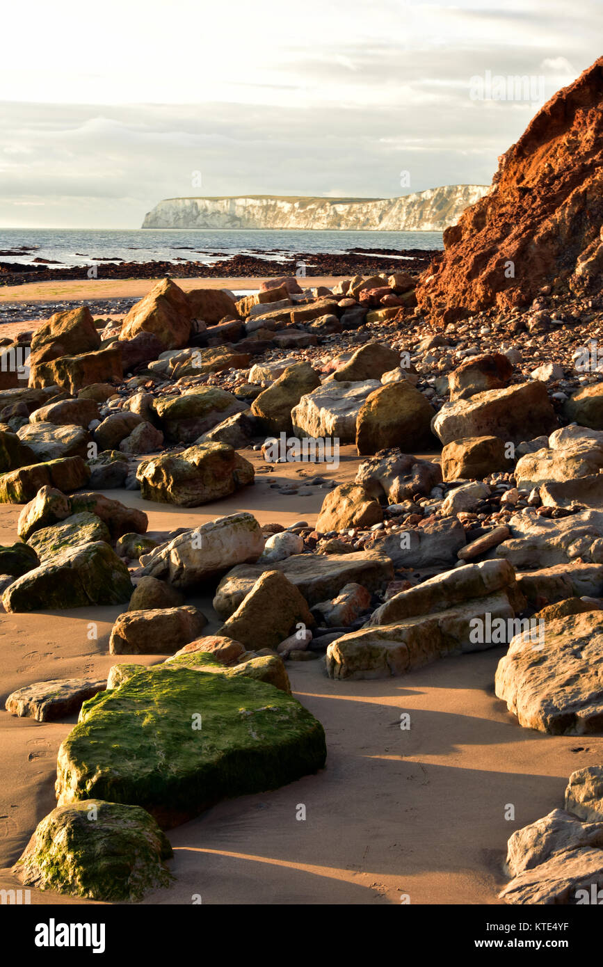 fallen rocks and landslips due to coastal erosion at Compton bay on the Isle of Wight. Geology of the Isle of Wight - Stock Image