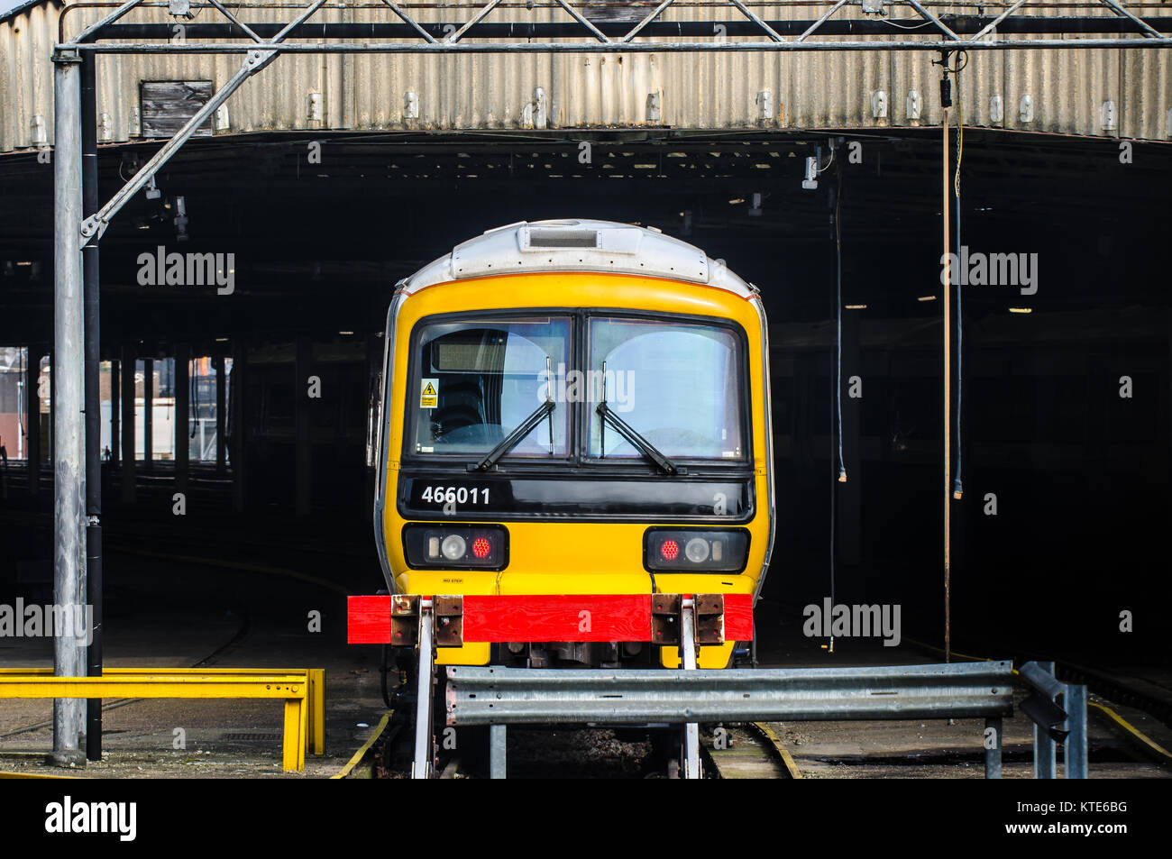 Class 466 Networker electric multiple unit railway train in London Victoria Carriage siding spur from Victoria Station - Stock Image