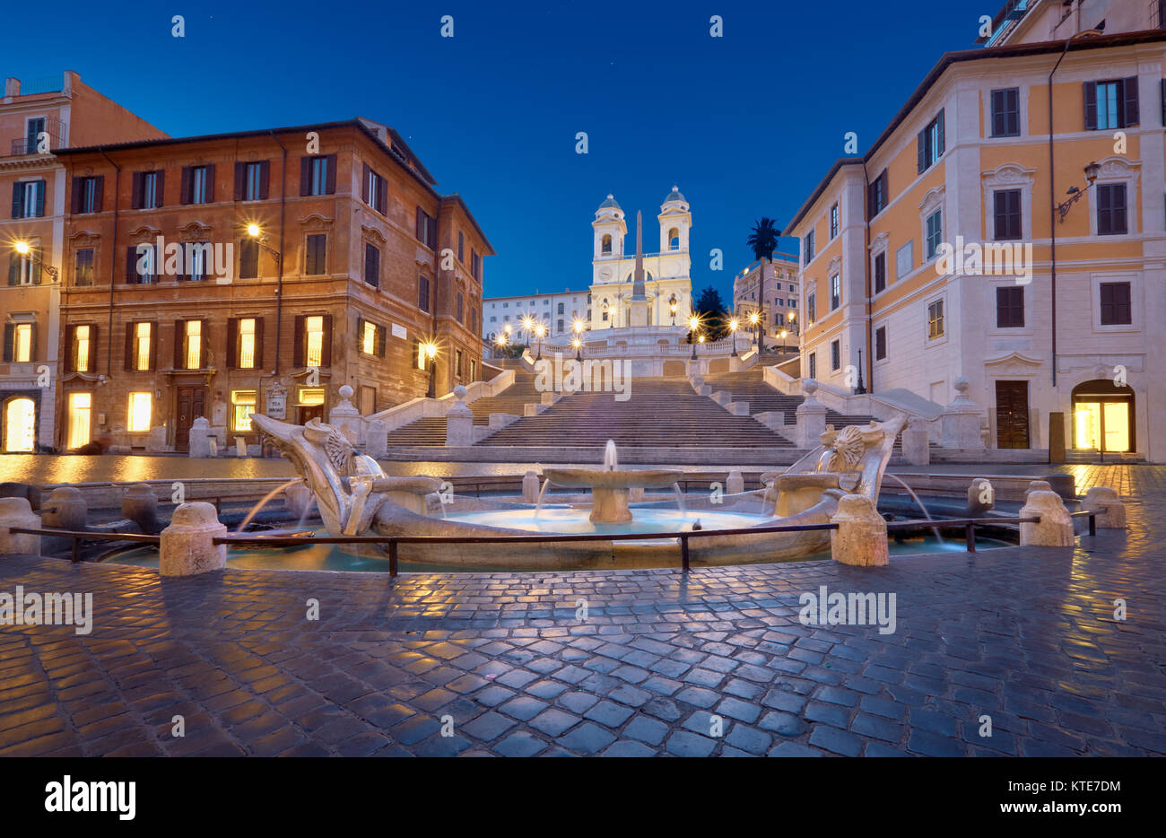 Monumental staircase Spanish Steps and and Trinita dei Monti church, evening view from Piazza di Spagna in Rome, - Stock Image