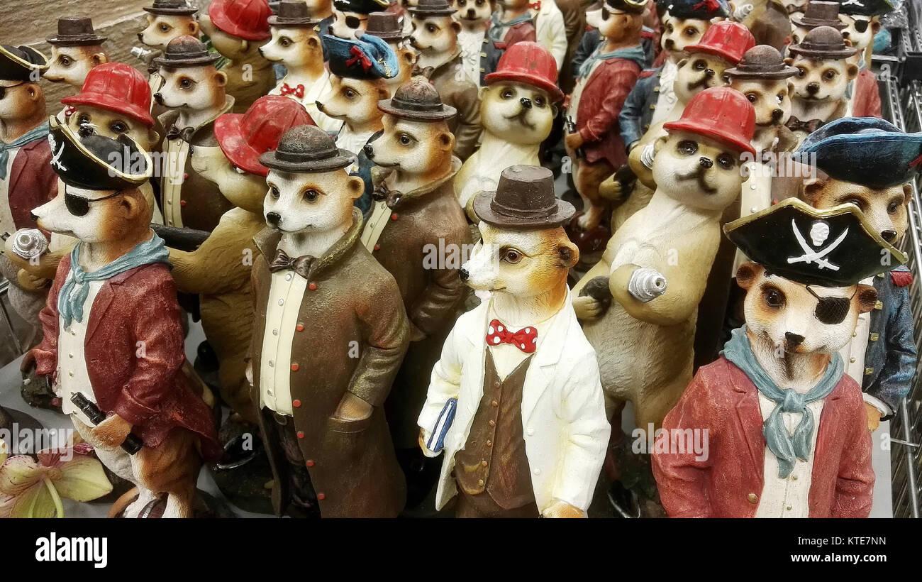 Meerkat models in a group - Stock Image