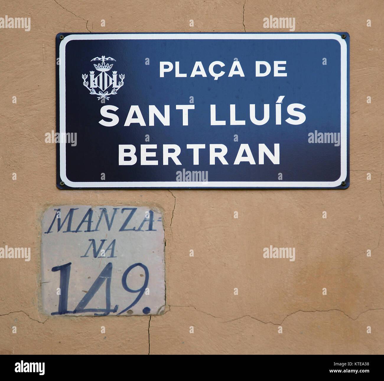 Street sign Placa de Sant Luis Bertran in Valencia Spain - Stock Image