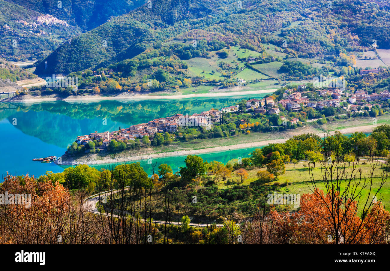 Impressive Colle di Tora village,panoramic view,Turno lake,Lazio,Italy. - Stock Image