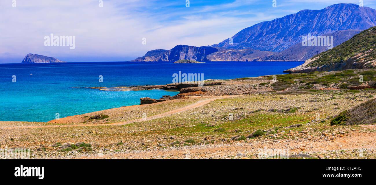 Beautiful beach of Crete island,panoramic view,Greece. Stock Photo