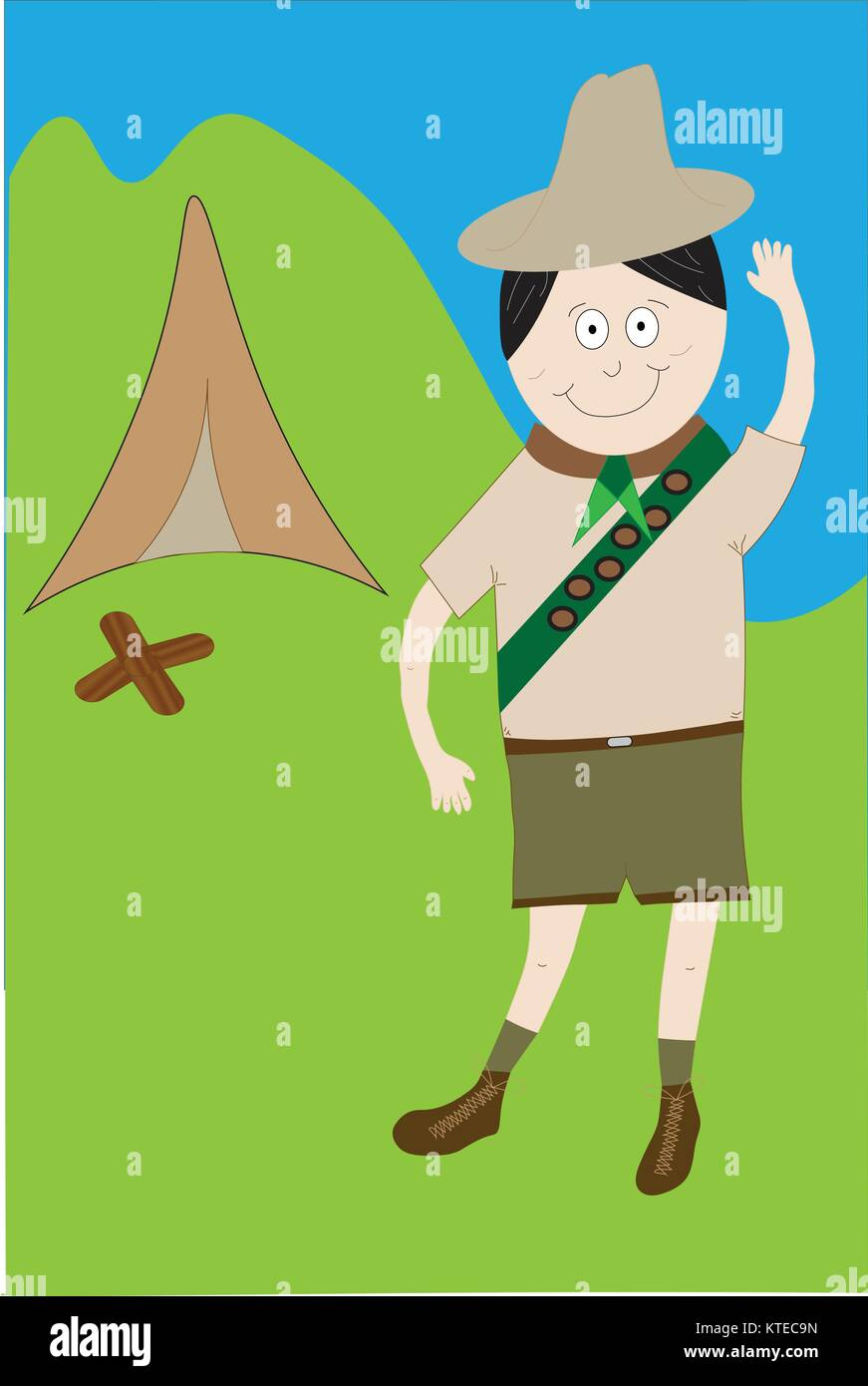 Boy scout illustrated in uniform with badges standing outdoors saluting with tent and campfire. - Stock Vector