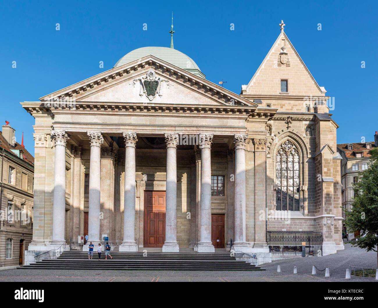 Front of St Pierre Cathedral in the Old Town (Vieille Ville), Geneva (Geneve), Lake Geneva, Switzerland - Stock Image