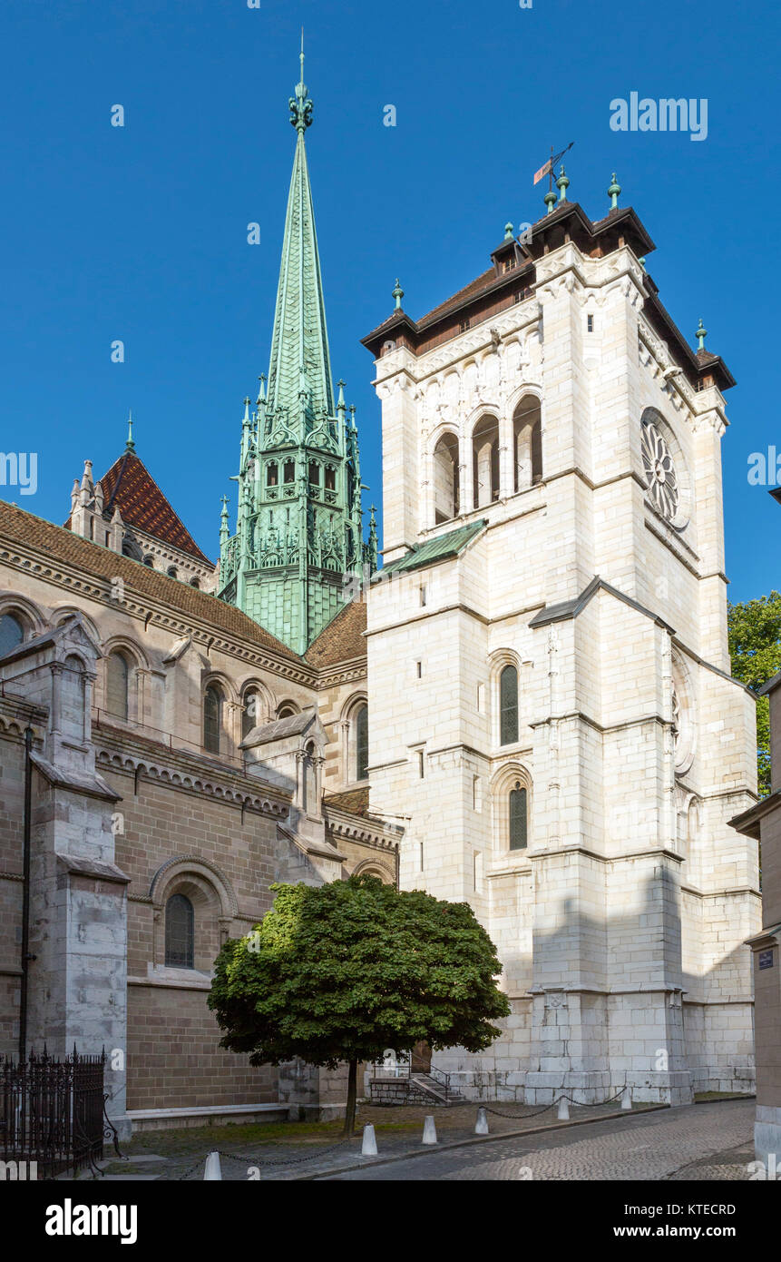 Rear of St Pierre Cathedral in the Old Town (Vieille Ville), Geneva (Geneve), Lake Geneva, Switzerland - Stock Image