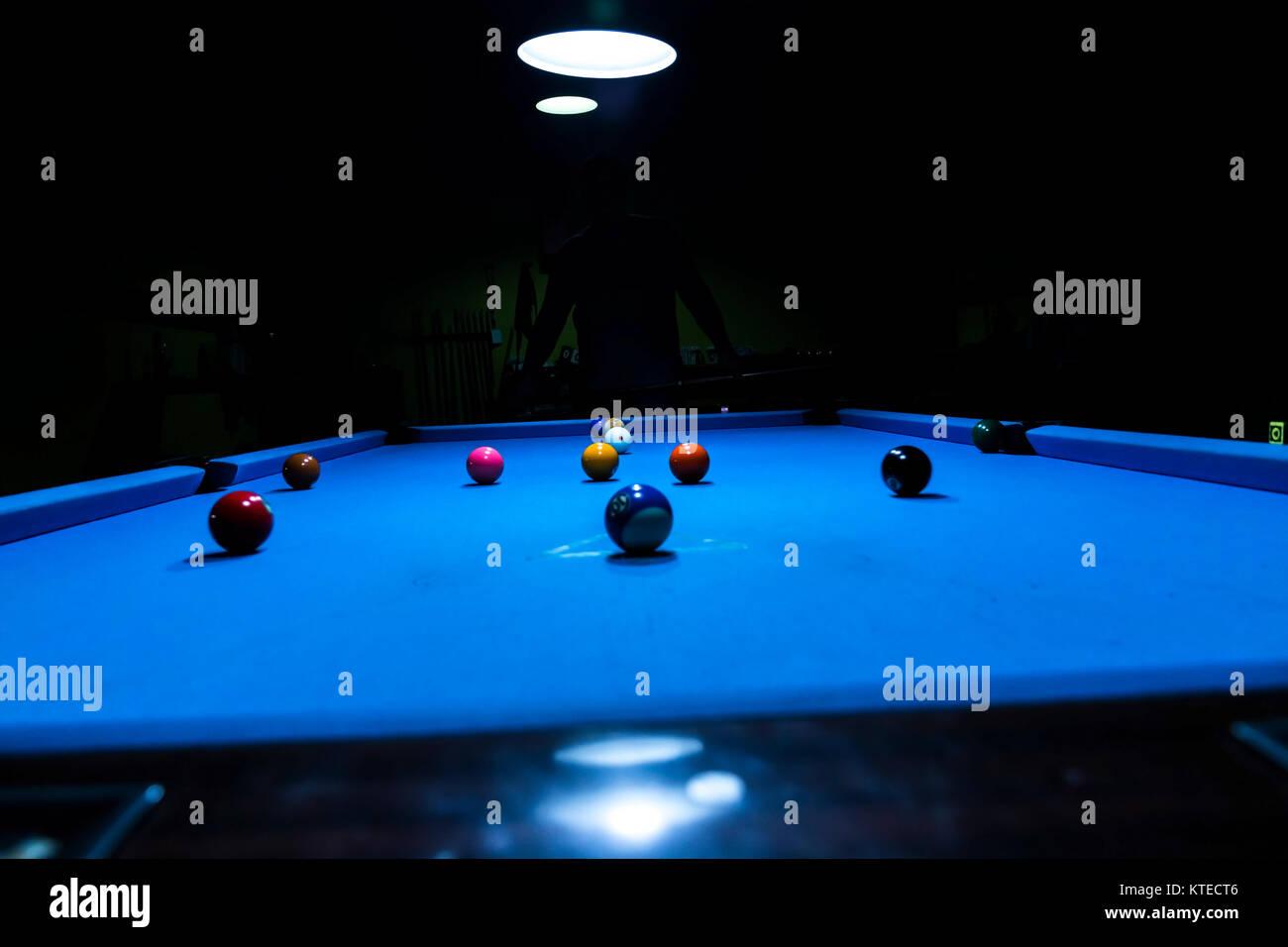 Initial kick at the billiard pool table - Stock Image