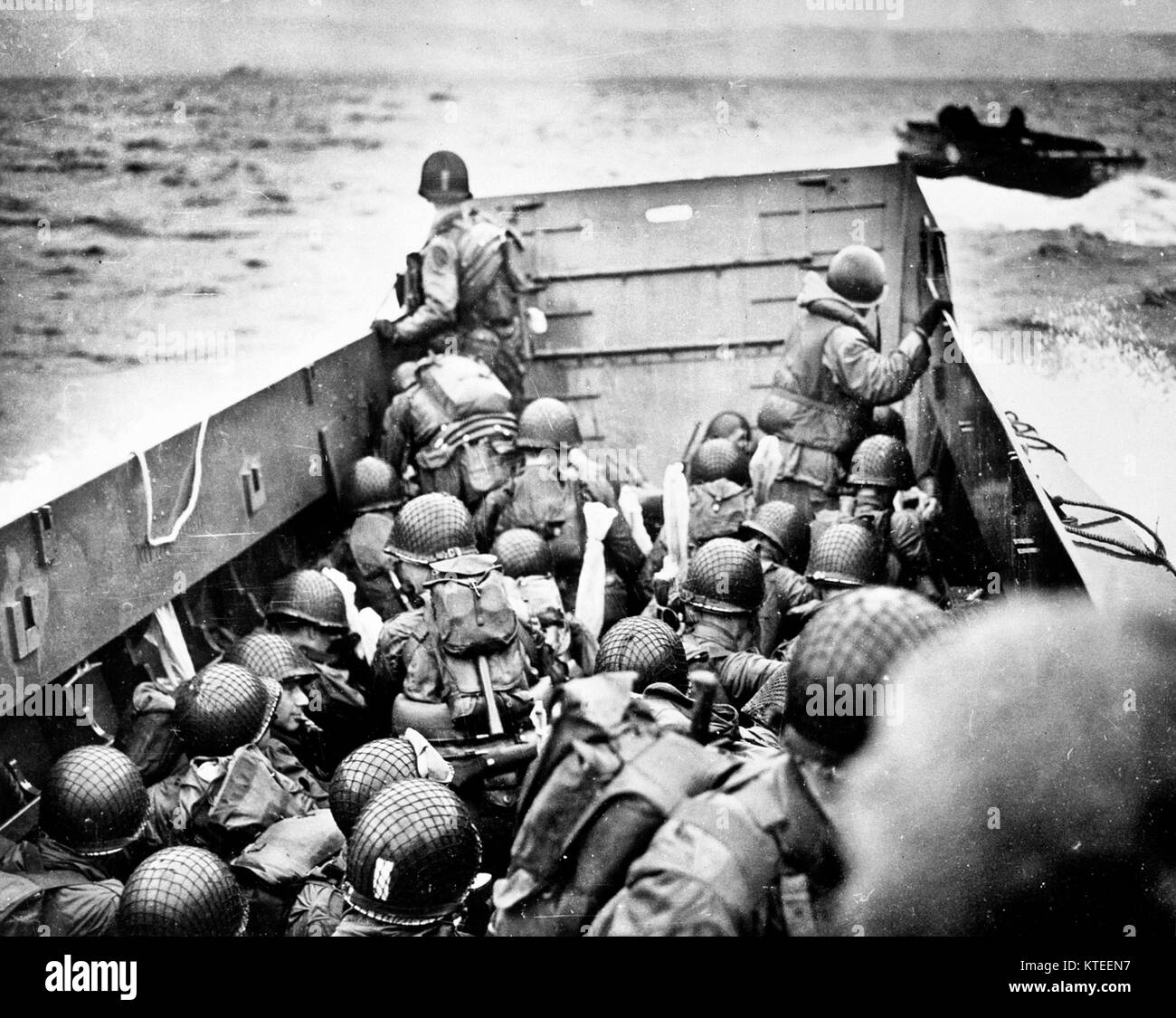 Normandy Invasion, June 1944 - Troops crouch inside a LCVP landing craft, just before landing on Omaha Beach on - Stock Image