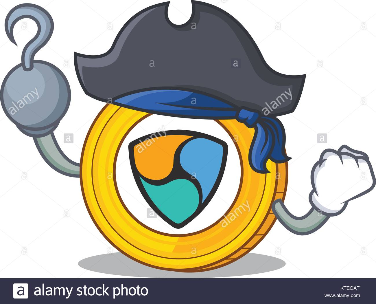 Pirate NEM coin character cartoon - Stock Image