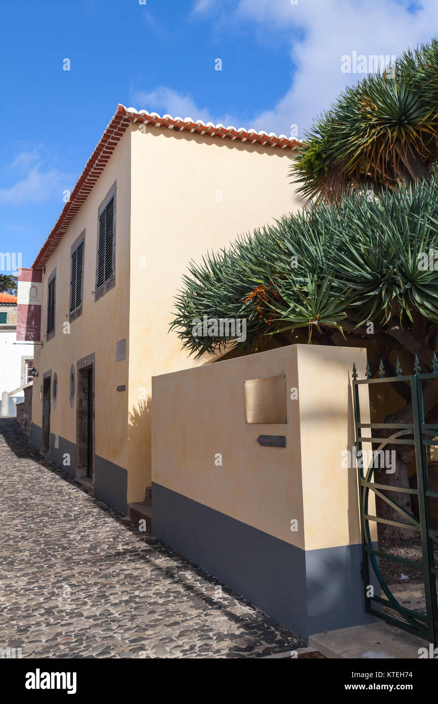 Vila Baleira, Portugal - August 18, 2017: Entrance to Christopher Columbus House, historical museum of Vila Baleira - Stock Image