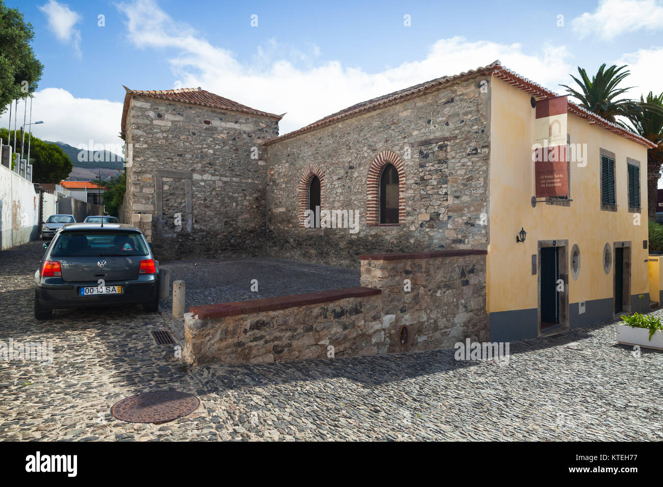 Vila Baleira, Portugal - August 18, 2017: Christopher Columbus House exterior, historical museum - Stock Image