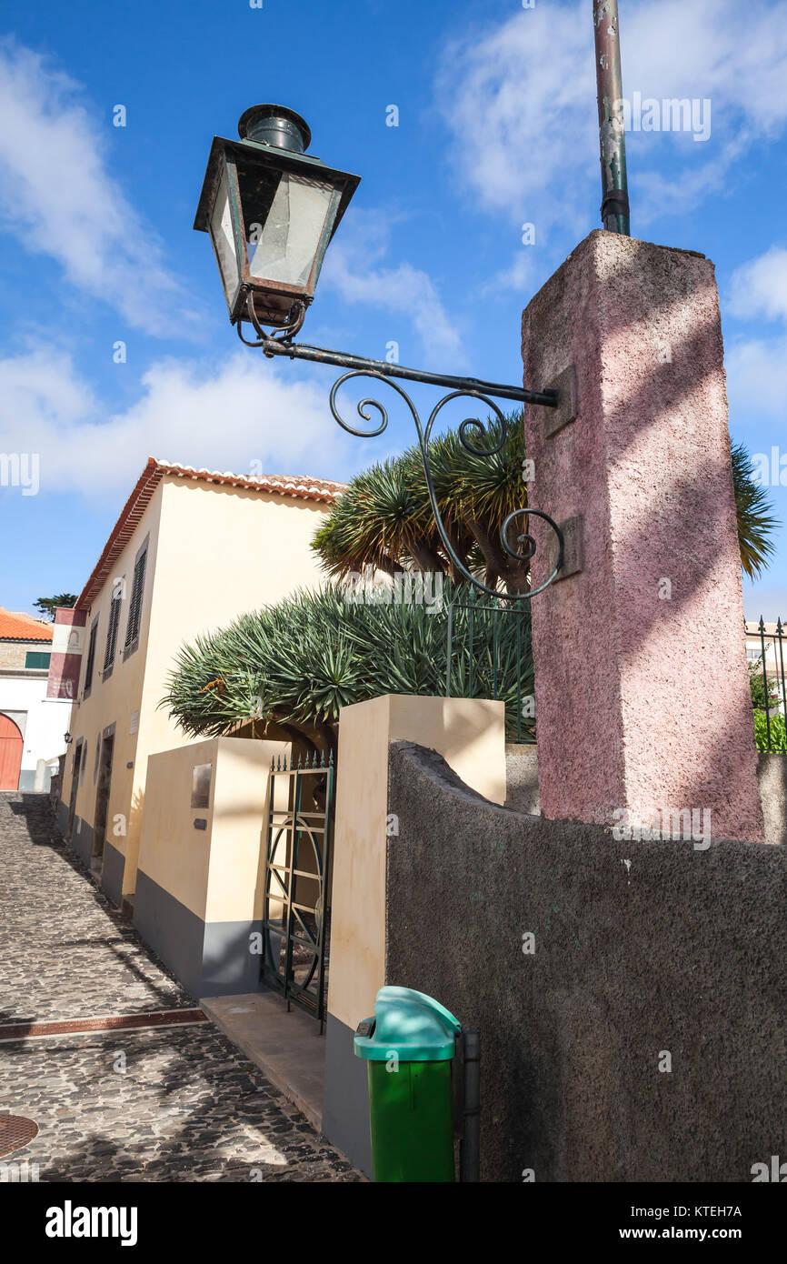 Vila Baleira, Portugal - August 18, 2017: Old street lamp near Christopher Columbus House, historical museum of - Stock Image