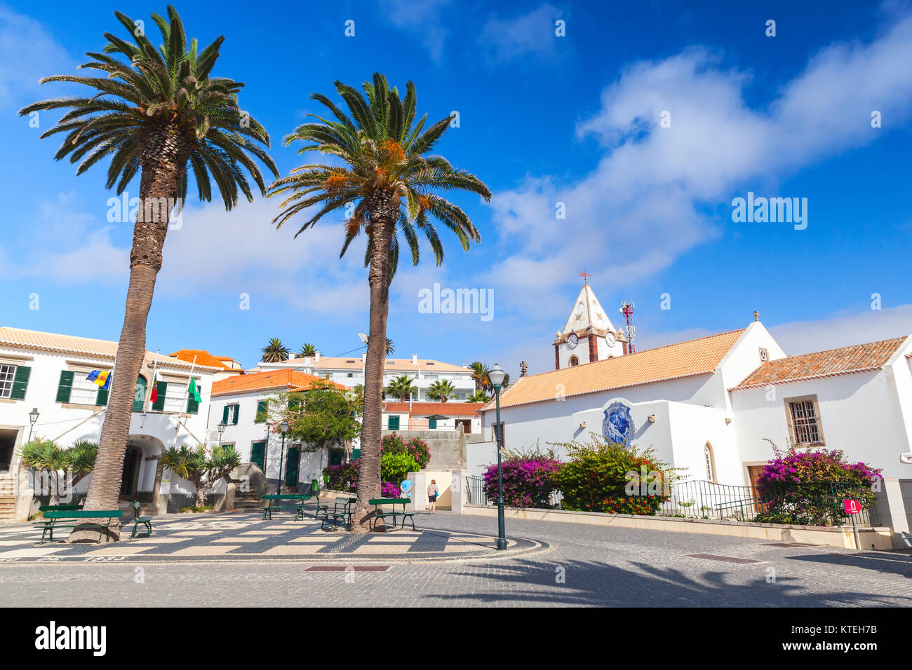 Vila Baleira, Portugal - August 18, 2017: Street view of Vila Baleira center the only city and the capital of Porto - Stock Image