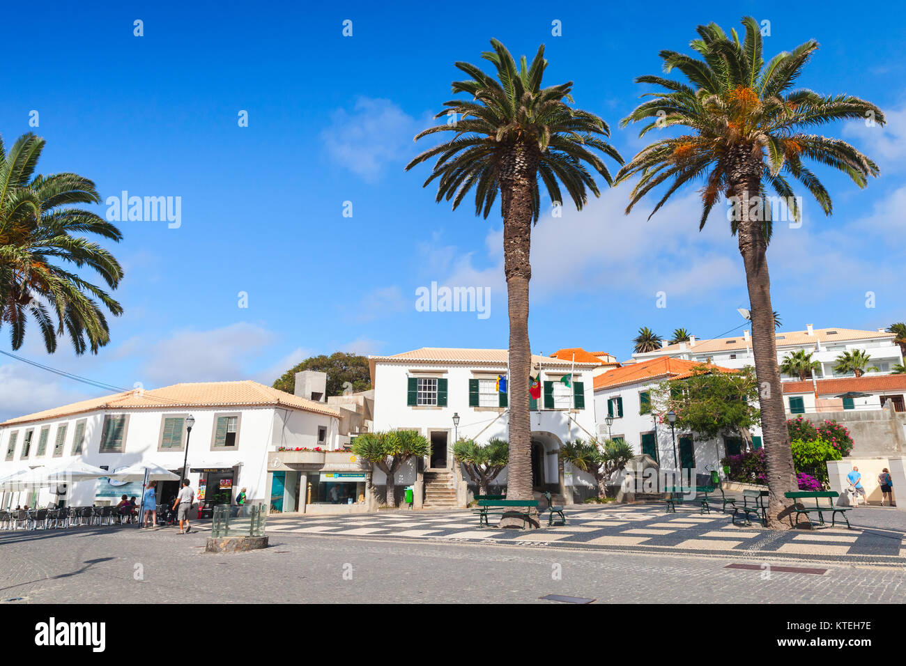 Vila Baleira, Portugal - August 18, 2017: Street view, central square of Vila Baleira the only city and the capital - Stock Image