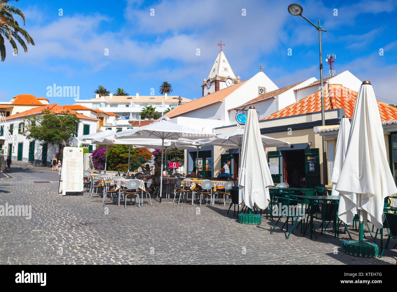 Vila Baleira, Portugal - August 18, 2017: Street view of Largo do Pelourinho street. Vila Baleira the only city - Stock Image