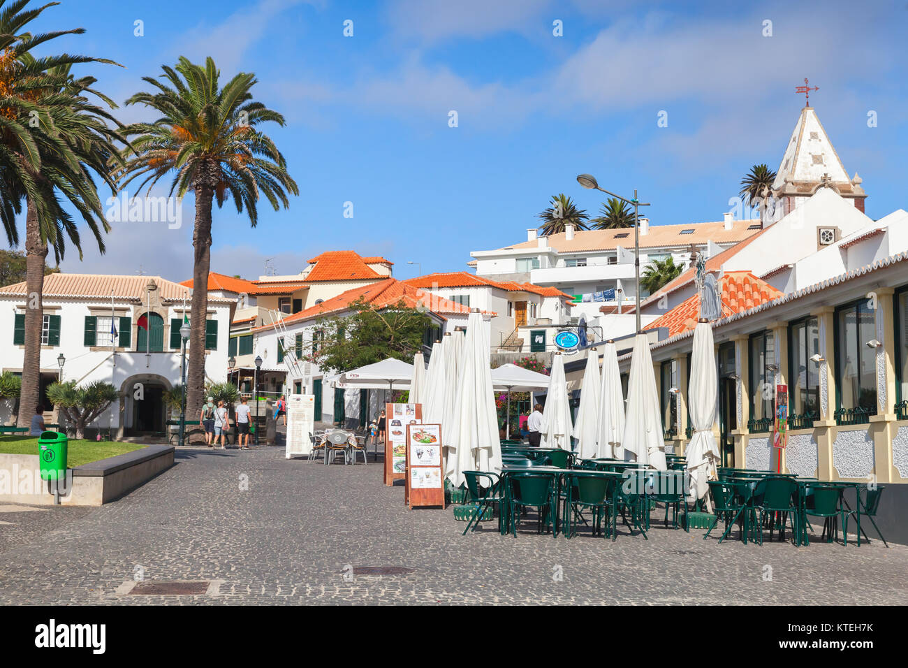 Vila Baleira, Portugal - August 18, 2017: Street view of Largo do Pelourinho street of Vila Baleira the only city - Stock Image