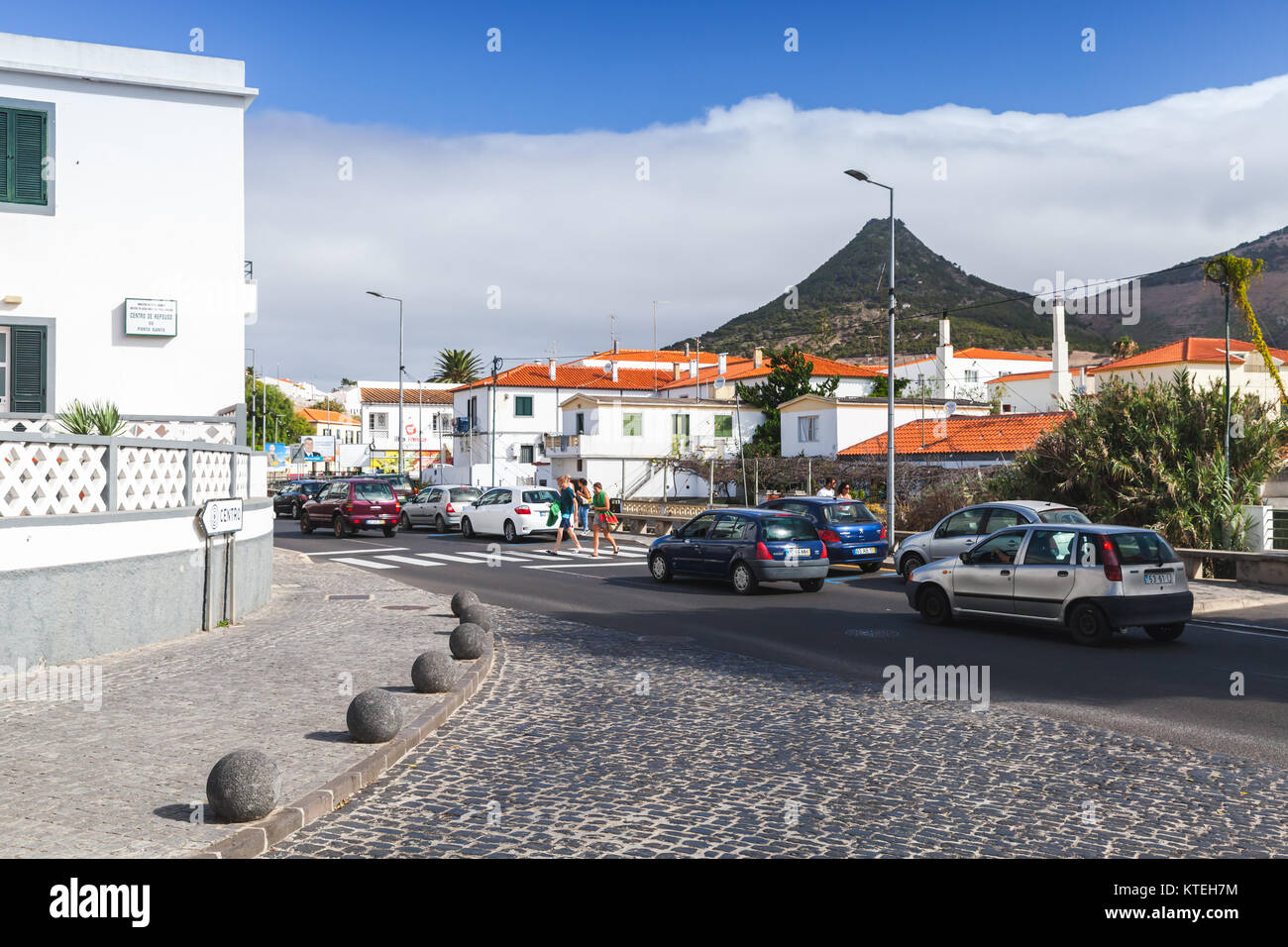 Vila Baleira, Portugal - August 18, 2017: Vila Baleira the only city and the capital of Porto Santo Island, Madeira, - Stock Image