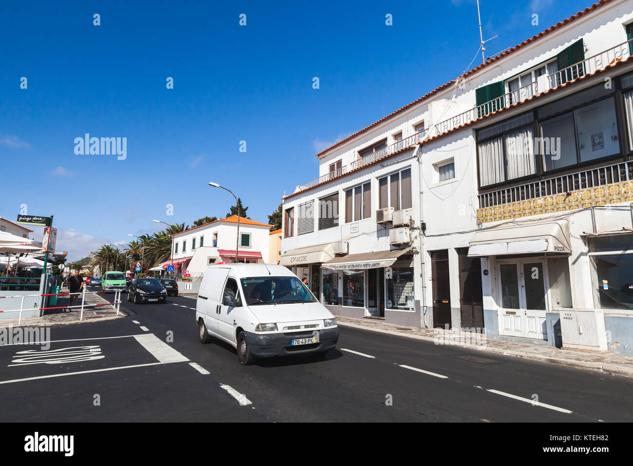 Vila Baleira, Portugal - August 18, 2017: Street view of Vila Baleira the only city and the capital of Porto Santo - Stock Image