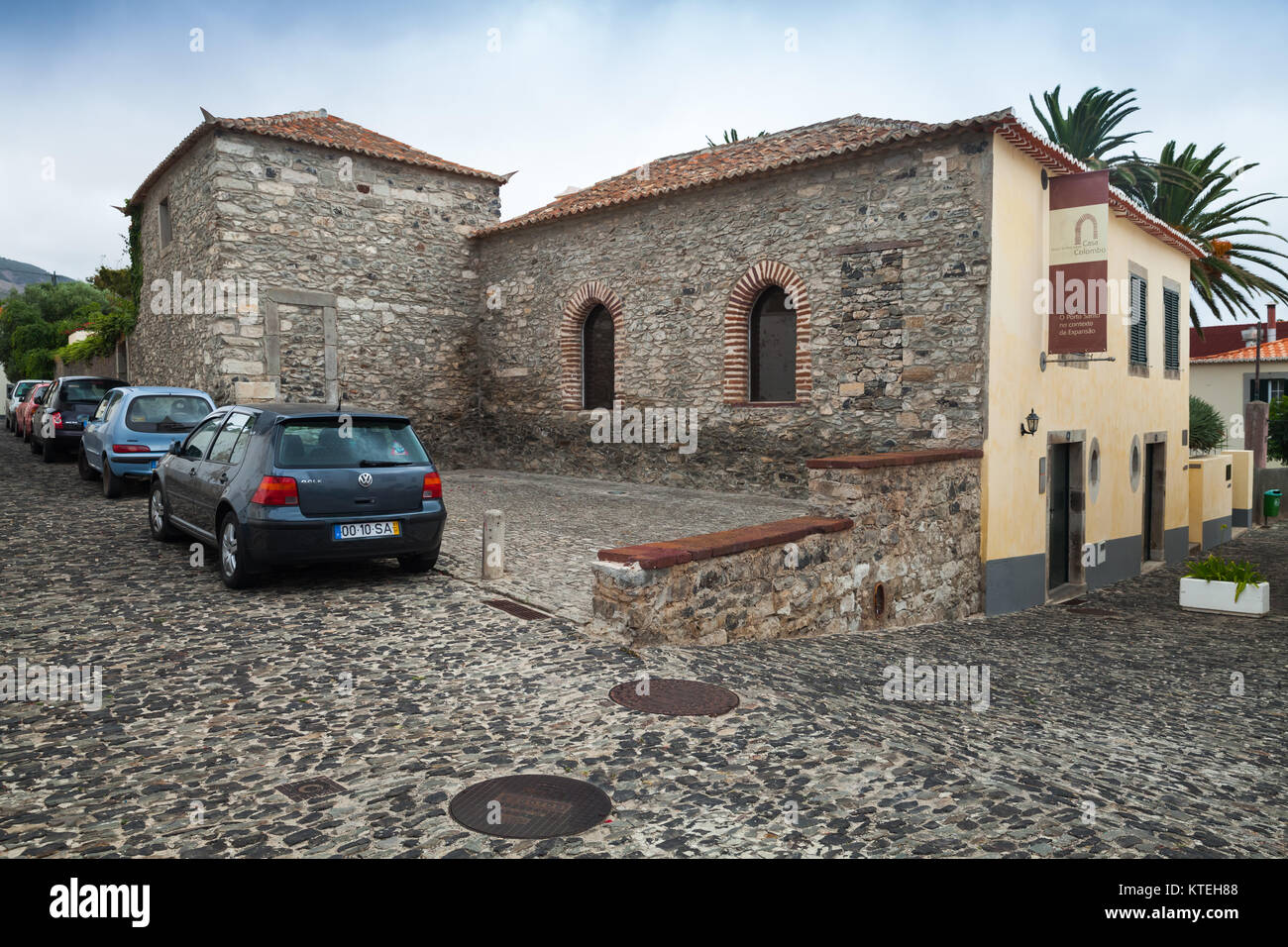 Vila Baleira, Portugal - August 19, 2017: Christopher Columbus House exterior, historical museum of Vila Baleira - Stock Image