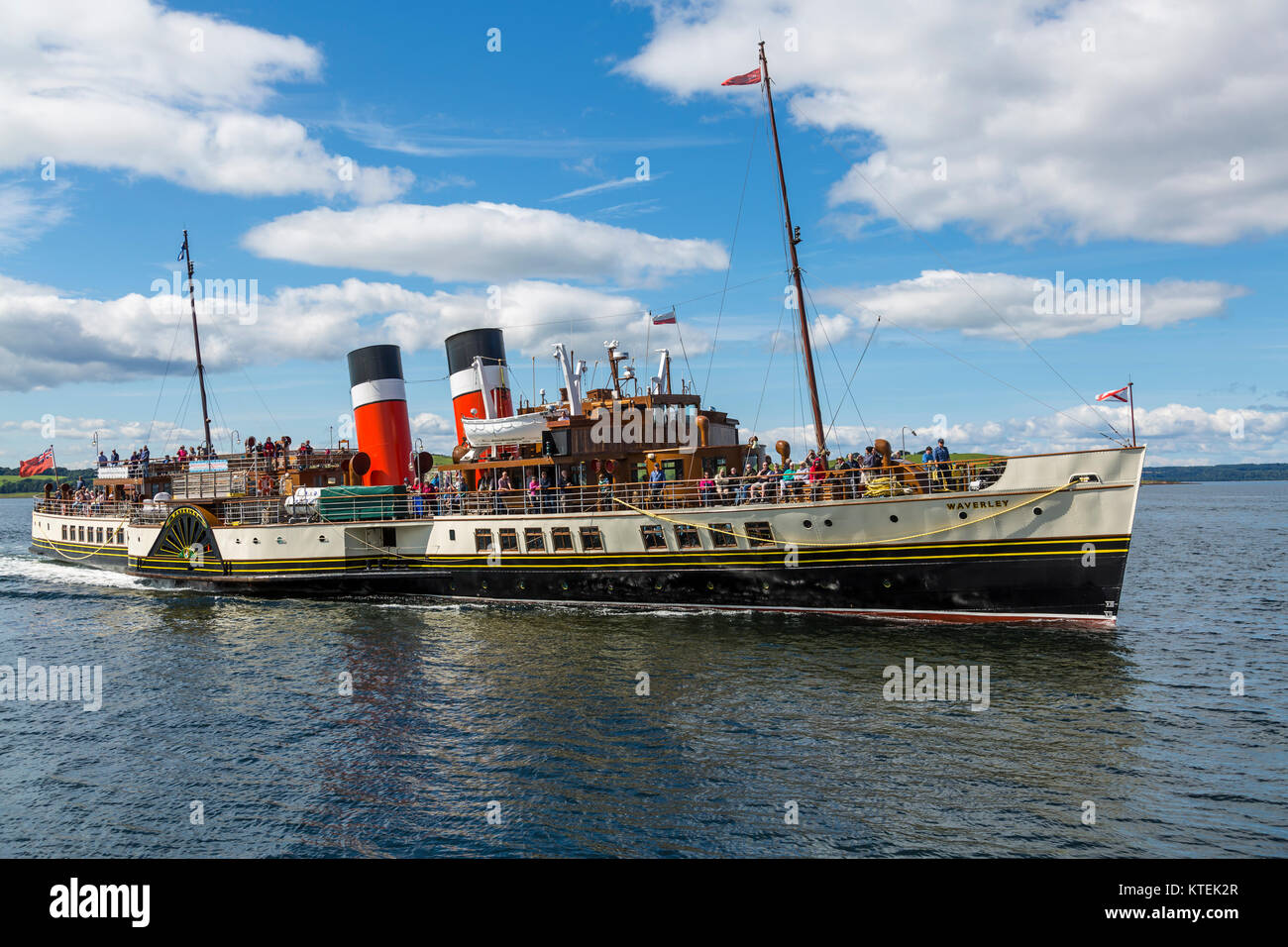 The Waverley Paddle Steamer approaching the town of Largs on the Firth of Clyde, North Ayrshire, Scotland UK - Stock Image