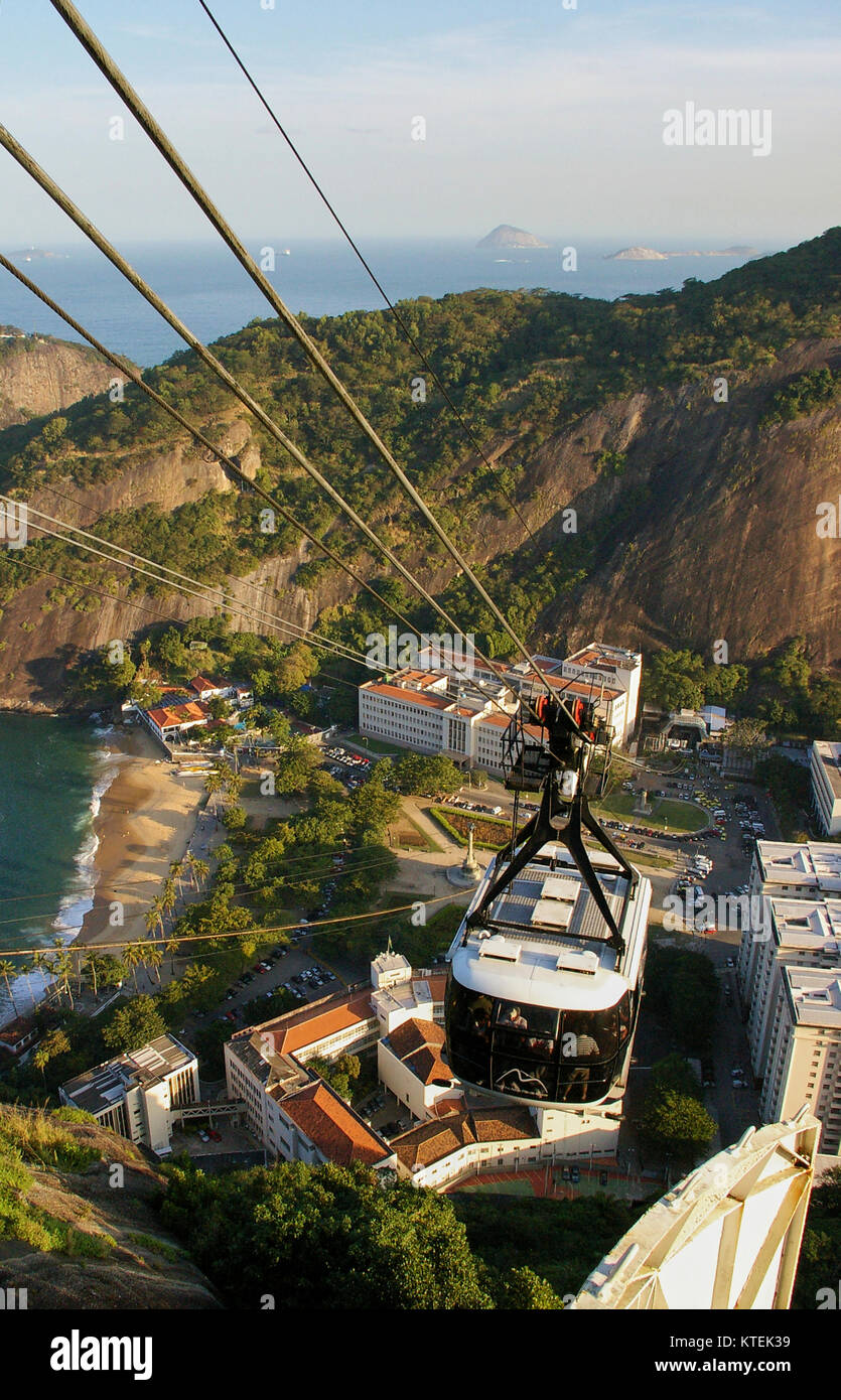Cable car on the way to Sugar Loaf, Brazil Stock Photo